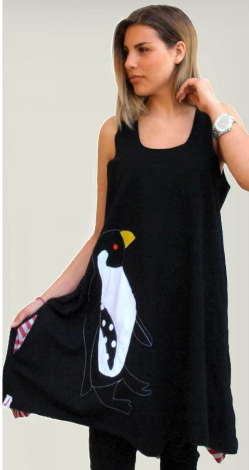 Μπλουζοφόρεμα με πράσταση πιγκουίνο!
