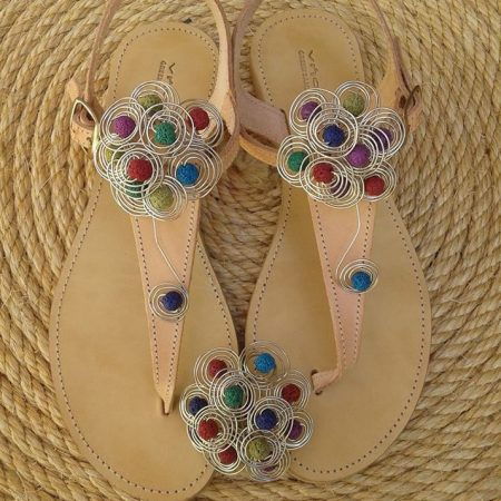 Handmade leather sandals, colored flower