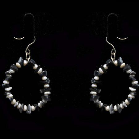 Χειροποίητα σκουλαρίκια με αλπακά, ημιπολύτιμες πέτρες και μαργαριτάρια