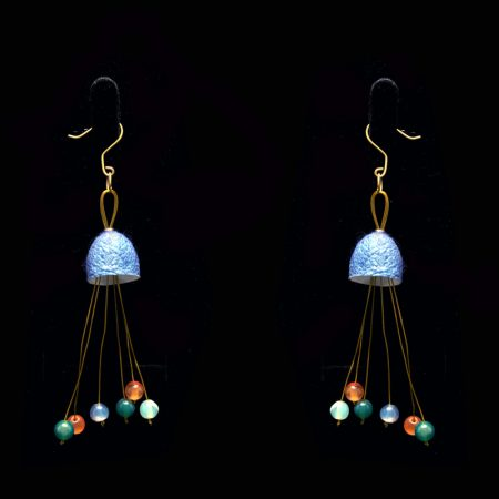 Handmade earrings with silk cocoon and semiprecious stones