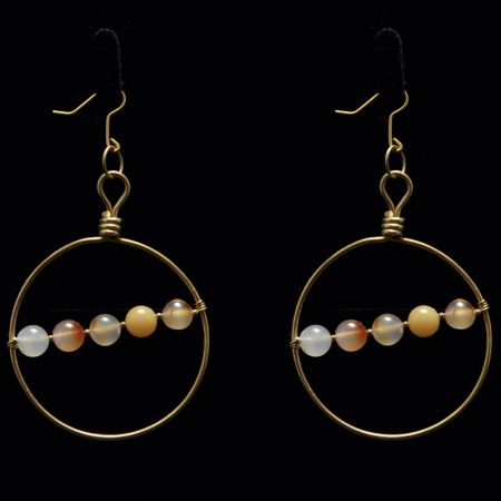 Handmade earrings with brass and semiprecious stones