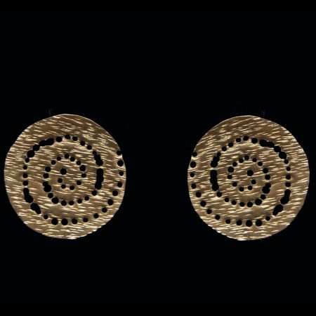 Handmade earrings with hammered brass and ancient Greek design
