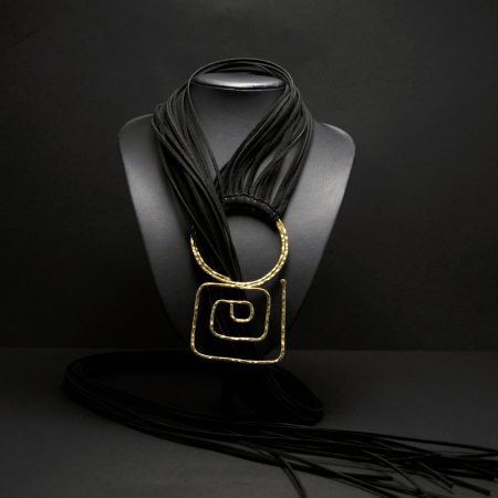Handmade long necklace with black suede leathers, hammered brass and ancient Greek design
