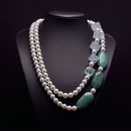 Handmade long necklace with glass pearls