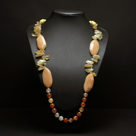 Long handmade necklace with semiprecious stones