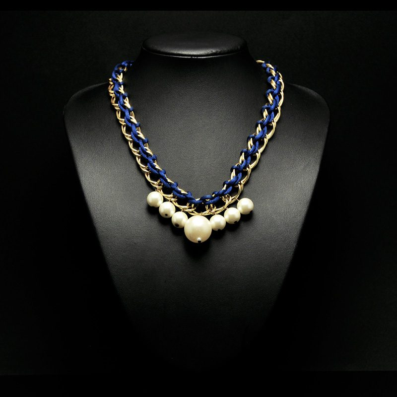 Handmade necklace with chain pearls and blue cord