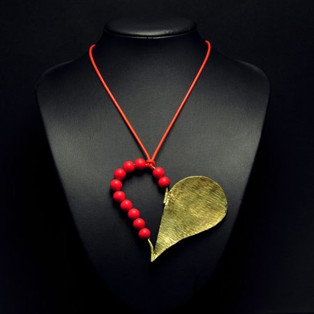 Handmade heart pendant with hammered brass and coral