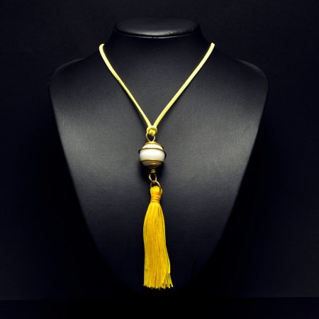 Handmade pendant with pearl and yellow tassel