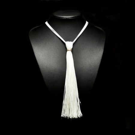 Handmade tassel pendant with white silk threads