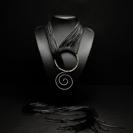 Handmade long necklace with black leather, hammered alpaca in ancient Greek design