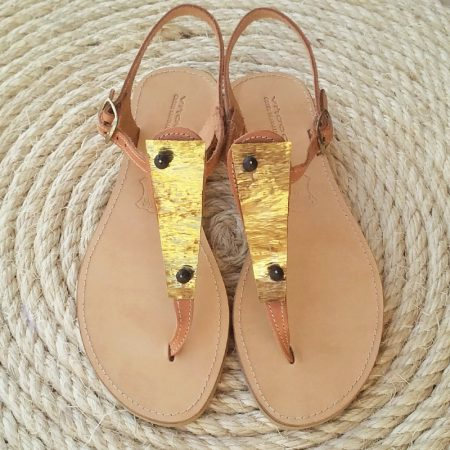 Handmade leather sandals with hammered brass