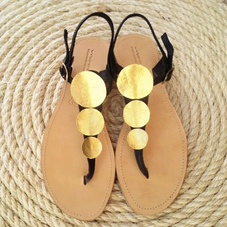 Handmade leather sandals with brass