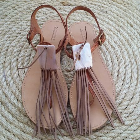 Handmade leather sandals with mother of pearl