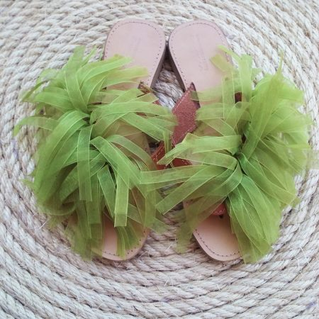 Handmade,Greek, leather sandals with organza.