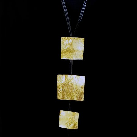 Handmade necklace with hammered brass, squares