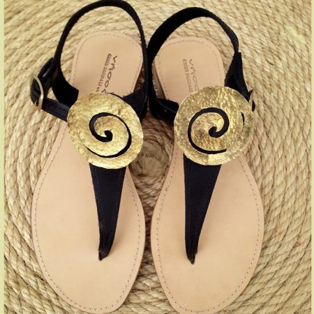 Handmade leather sandals with hammered brass, ancient Greek spiral