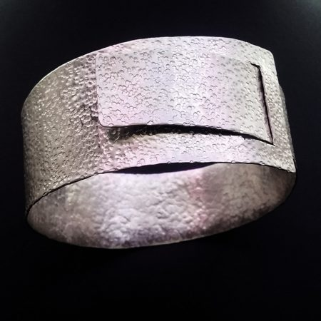 Handmade bracelet with hammered alpaca in ancient Greek style