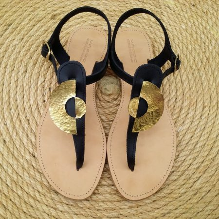 Handmade leather sandals with hammered brass, ancient Greek complementary cycles