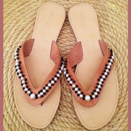 Handmade leather sandals with volcanic stones and  pearls!