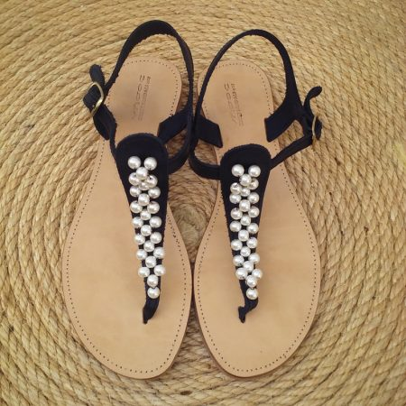 Handmade leather sandals with pearls!