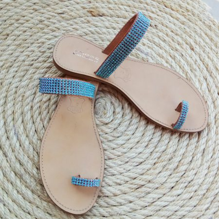 Handmade leather sandals with rhinestone