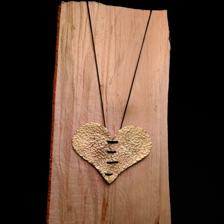 "Handmade ""cracked"" heart pendant with hammered brass!"