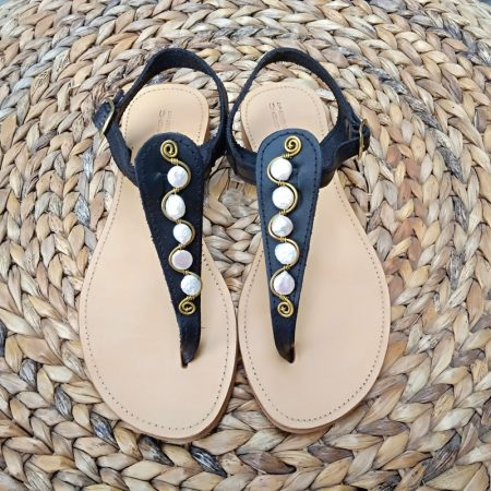 Handmade leather sandals with brass and real pearls!