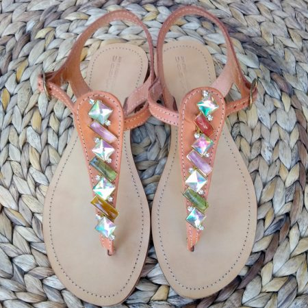 Handmade leather sandals with crystal stones!