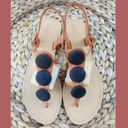 Handmade leather sandals with volcanic stones!