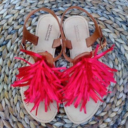 Handmade leather sandals with silk ribbons!