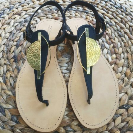 Handmade leather sandals with hammered brass, ancient Greek complementary cycles!