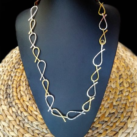 "Handmade necklace ""FISH"" with hammered arzanto [alpaca] and brass"