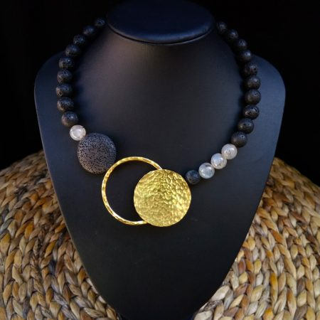Handmade necklace with volcanic stones, chaolite and hammered brassκαι σφυρήλατο ορείχαλκο