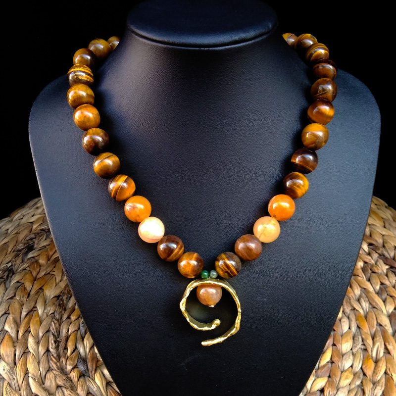 """Handmade Necklace with Ancient Greek Design """"Spira"""" and Tiger's Eye!"""