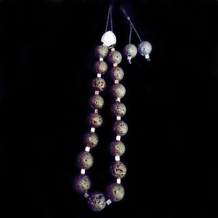 Handmade rosary with volcanic stones, hematite and metallic element!