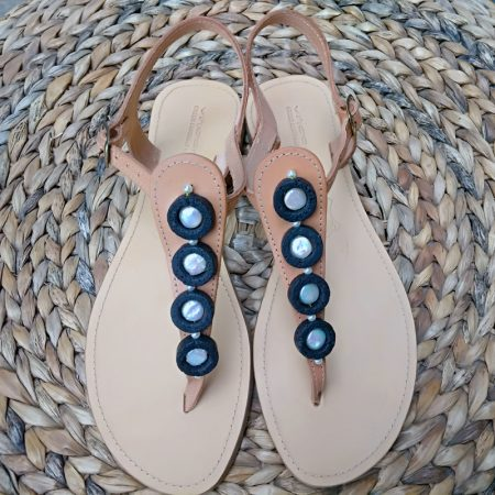 Handmade leather sandals with volcanic stones and real pearls!