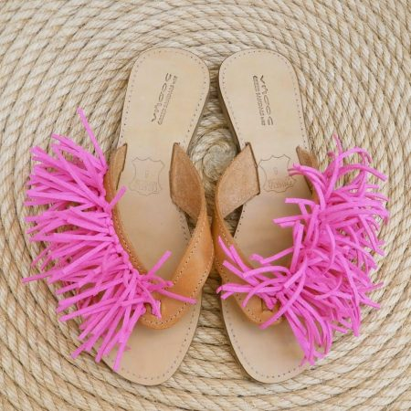 Handmade leather sandals with colored suede leather