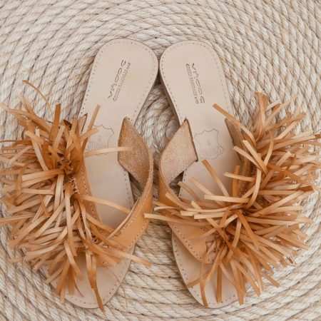 Handmade leather sandals with silk ribbons