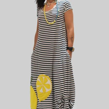 Handmade long dress, lemons