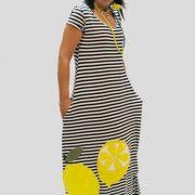 Χειροποίητο μακρύ φόρεμα, λεμόνια