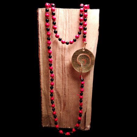 Handmade long necklace with hammered brass in an ancient Greek design with coral and lava